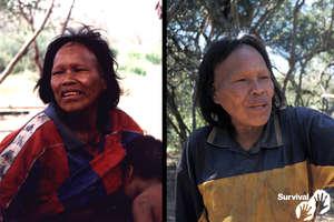 Ibore Picanerai en buen estado de salud cuando fue forzada a salir de la selva en 1998 (izquierda), y aquejada de una enfermedad parecida a la tuberculosis en 2003 (derecha). Falleció como consecuencia de ella en el año 2009. © Survival/J. Mazower