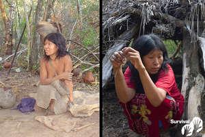 Nguiejna Etacoro presentaba un estado saludable el día en que fue contactada en el año 2004 (izquierda); en 2007 ya padecía una enfermedad similar a la tuberculosis (derecha). Ahora está gravemente enferma. © GAT/Survival