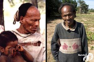 Parojnai Picanerai en buen estado de salud el día en que fue contactado en 1998 (izquierda), y gravemente enfermo de una dolencia similar a la tuberculosis en 2007 (derecha). Murió por esta enfermedad en 2011. © V. Regehr/J. Mazower